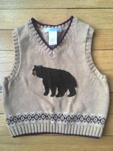 Janie And Jack Tan Cotton Sweater Vest With Knitted Brown Bear 12-18 Months NWOT
