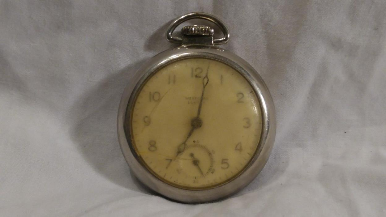 VINTAGE ANTIQUE WESTCLOX SCOTTY POCKET WATCH WORKS GREAT