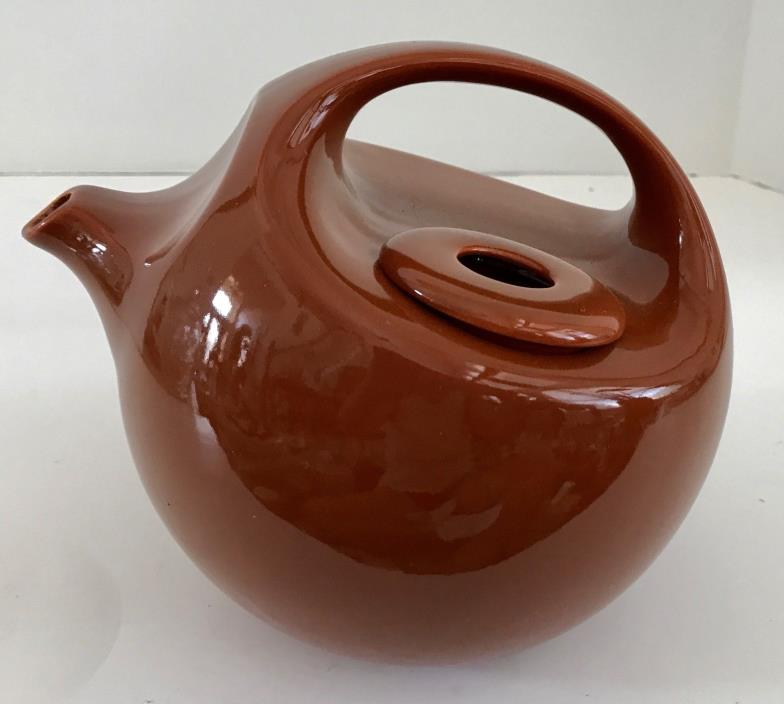 Vintage Burnt Orange Ceramic Teapot by Robert Steven Witkoff for National Silver