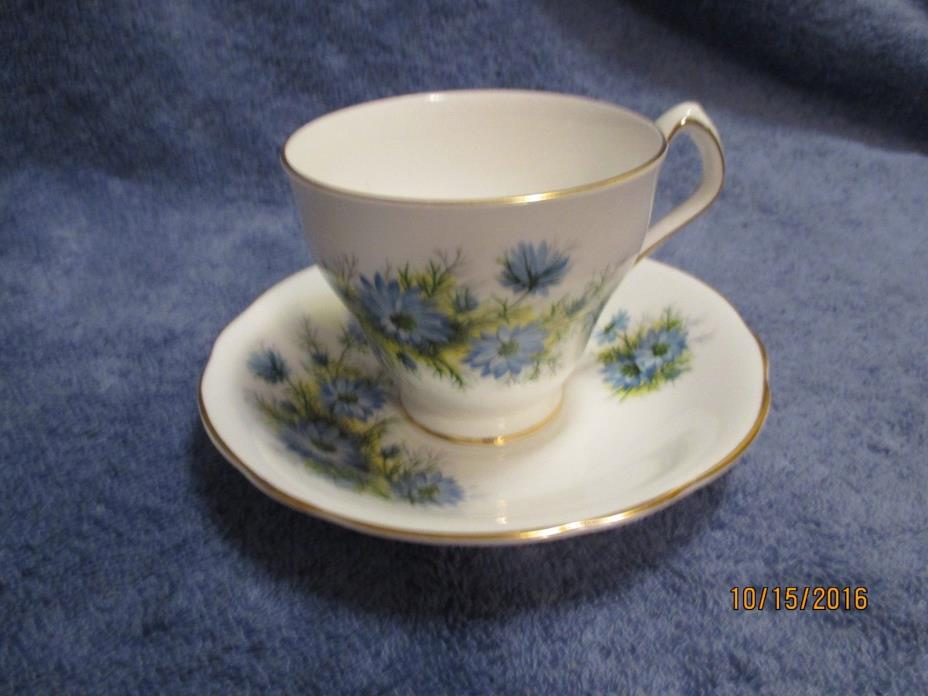 Vintage Royal Windsor Cup and Saucer Blue Floral England Gift Giving Condition