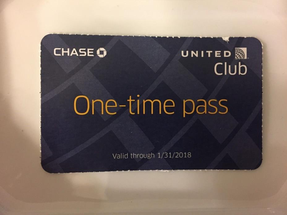 One (1) United Club Lounge Pass Coupon Expires 1/31/18 FREE SHIPPING