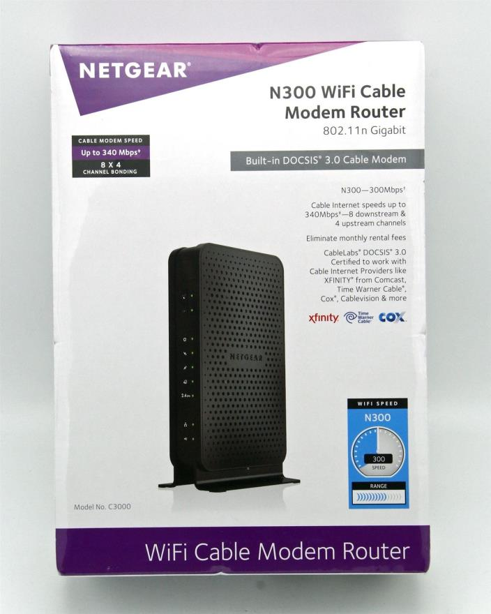 NETGEAR N300 WiFi Cable Modem Router 802.11n Gigabit Model# C3000 NEW