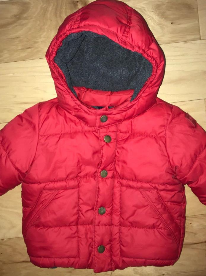 GAP BABY BOYS RED WINTER COAT W/ FLEECE LINING SIZE 12-18 EXCELLENT COND LD 6