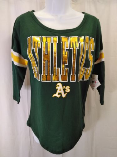 MLB Oakland A's womens small  Athletics T Shirt Ladies FITTED 3/4 sleeve  green