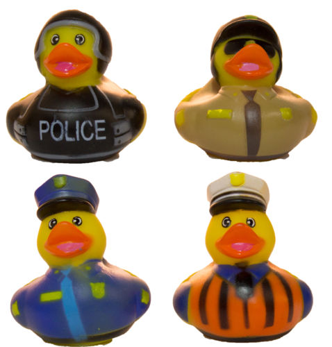 Set of Four 2 Inch Rubber Duckies - Police