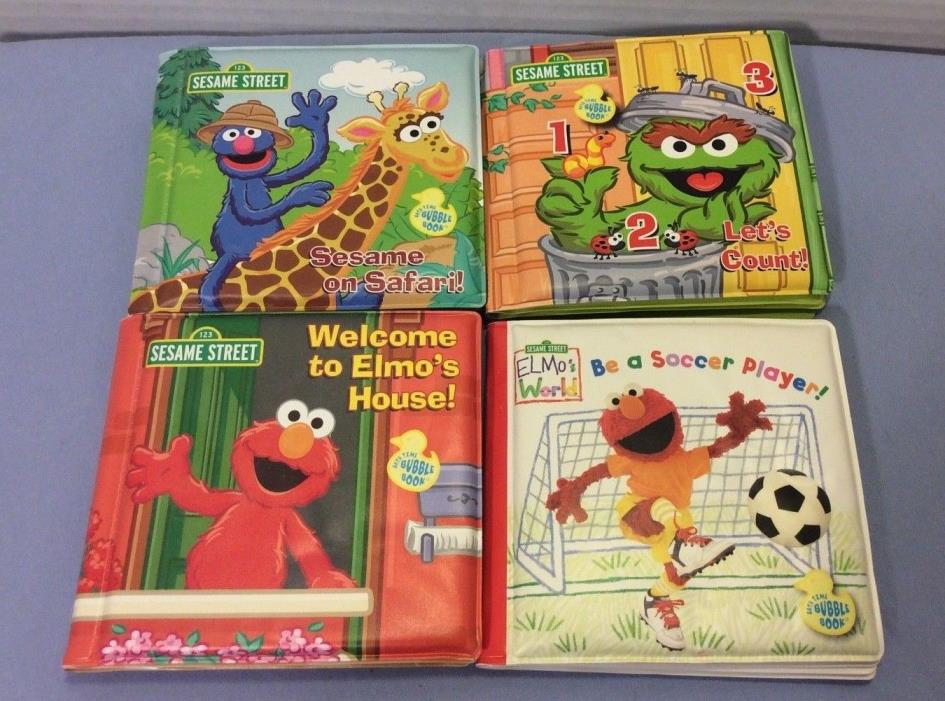 Sesame Street Bath Time Bubble Books Let's Count Sesame On Safari plus two more