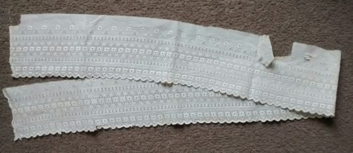 Antique Embroidered Eyelet Cotton Flounce Lace Trim Salvage 46