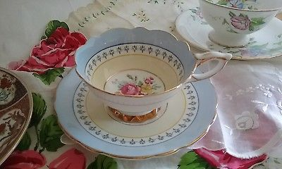 ROYAL STAFFORD Tea Cup and Saucer Pale Blue Yellow Gold Scallop Footed ENGLAND