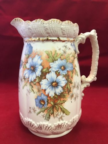 Vintage GRIMWADE STOKE ON TRENT 8 Inch Pitcher Beautiful Blue Flowers B2