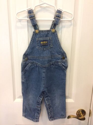 Oshkosh B'Gosh Overalls 24 Months Baby Boy Blue Jean Denim Made In USA