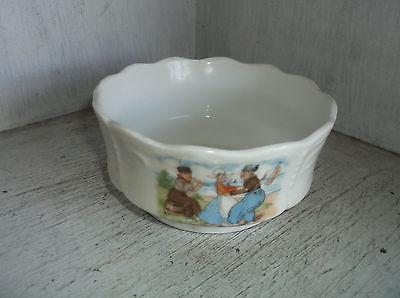 Vintage Dutch Boys & Dutch Girl Dancing Small Bowl Unmarked