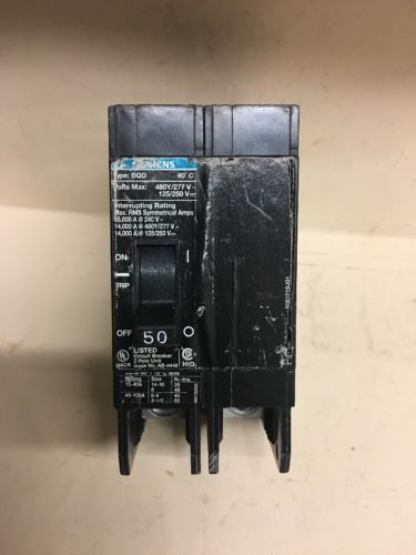 SIEMENS BQD 2 pole 50 amp 480Y/277v BQD250 Circuit Breaker USED