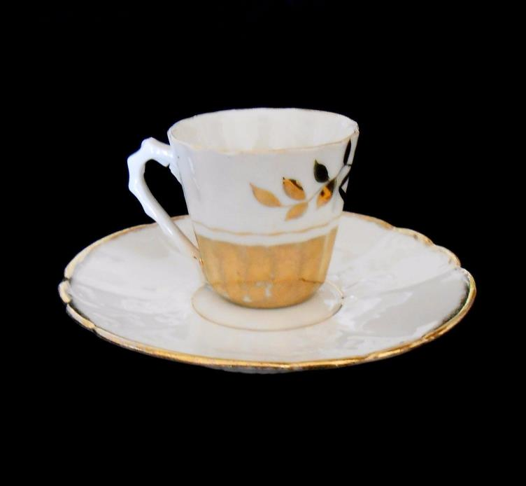 Gilded Porcelain Antique Mini Cup and Saucer from Civil War Era