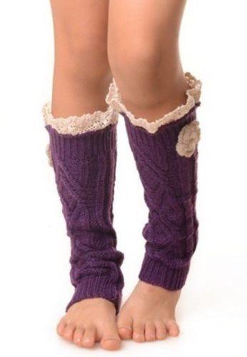 New Kids Knit Leg Warmers Boot Socks Purple