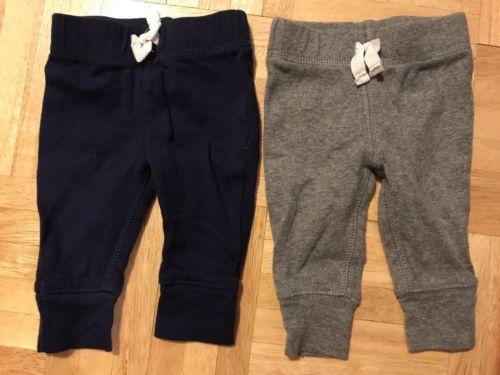 Carter's baby boy basic navy blue dark heather gray cotton rib pants 2pc set  NB