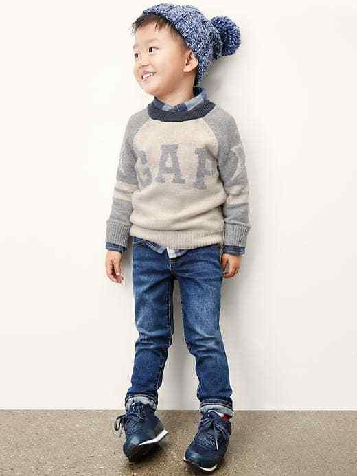 NEW GAP Baby Boy Varsity sleeve Logo Sweater Gray Beige Cotton Wool 12-18 month