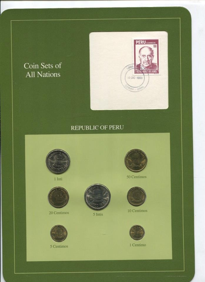 Peru 7 Coins Coin Sets of All Nations Original Cache w/ Information Card