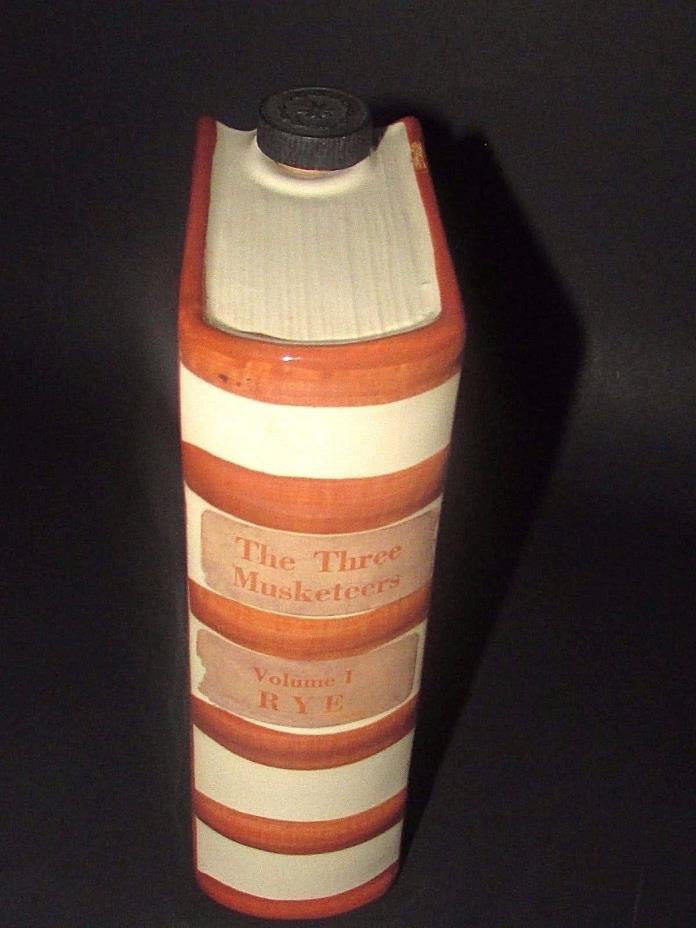 Ceramic Book Shaped Liquor Decanter Flask  'The Three Musketeers   Vol I   RYE'