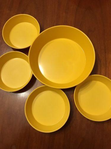 Set 5 Vintage Melmac Melamine Yellow Stackable Bowls 5