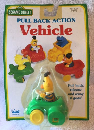 VINTAGE SESAME STREET PULL BACK ACTION VEHICLE BY ILLCO TOYS 1991