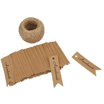 Kraft Paper Handmade Tags 100PCS PaperGift TagsHandmade Label Craft Hang With