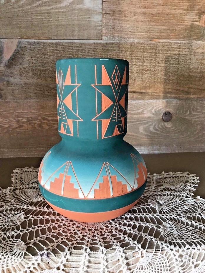Sioux Pottery Large Spirit Vase Signed Signed