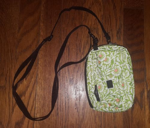 Eddie Bauer Travel Wallet Green/White/Orange Floral Print