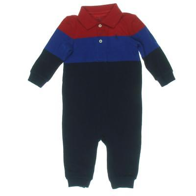 Ralph Lauren 5172 Red Newborn's Colorblock Polo Coveralls  9 MO BHFO