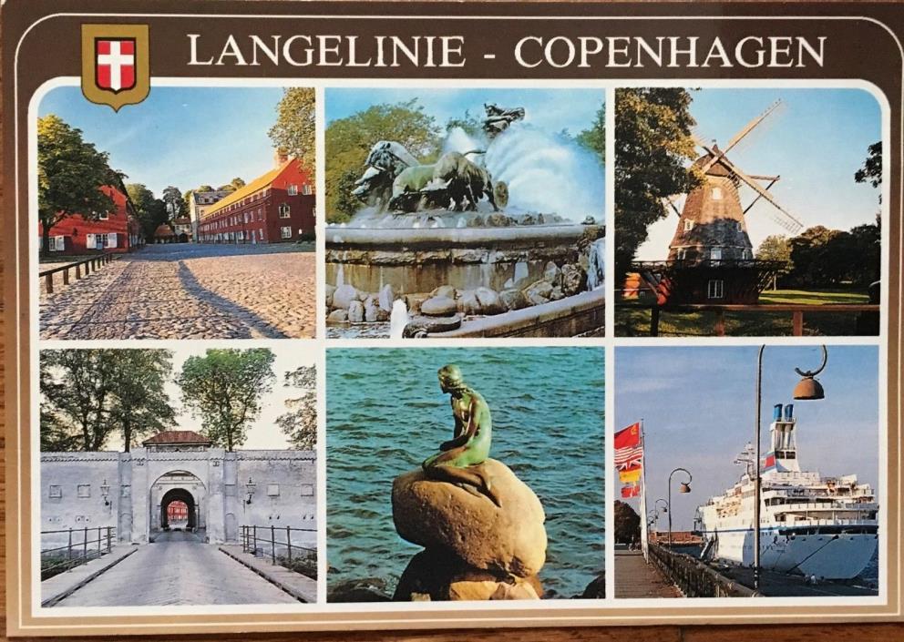 Copenhagen Denmark Vintage Postcard Views Langelinie Little Mermaid Windmills