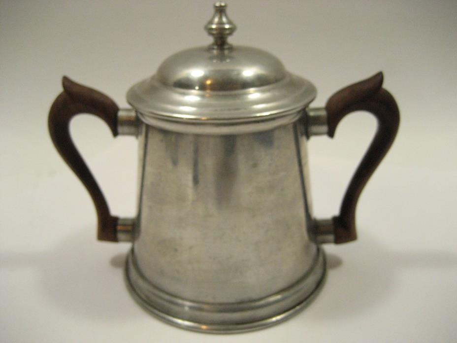 Sugar Bowl Unmarked Pewter with wood handles