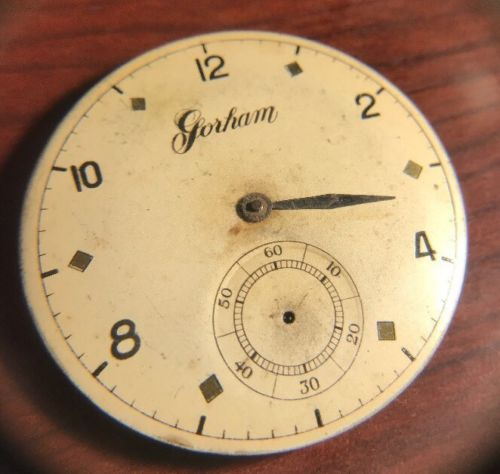 Gorham 7 Jewels Pocket Watch Movement & Dial Size 39mm. HMMK SWISS 3470 GOTHAM