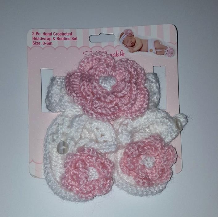 Crocheted Headband Booties Set Newborn photo Props Pink flower Baby Girl 0-6m