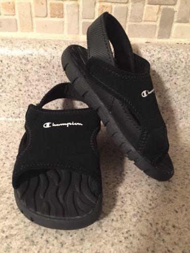Sz 6.5 Toddler Champion Black Open Toe Slingback Sandal.