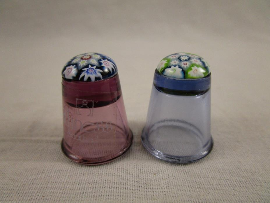 Caithness Millefiori Glass Thimble Scotland PAIR blue pink With Label