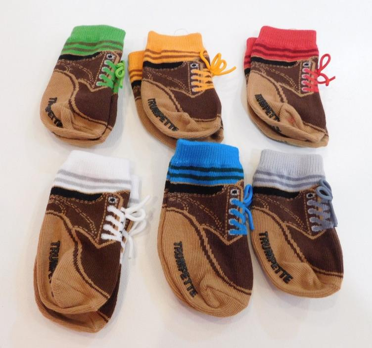 Liam's Trumpette Baby Socks Boys 0-12 M Lot of 6 Pairs Brown Colorful Laces