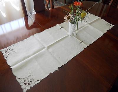 Vtg Pure Linen Ecru Hand Embroidery Cutwork Table Runner Portugal Azores 15x44