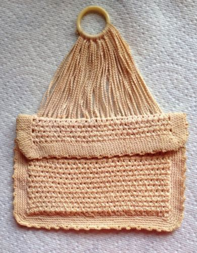 ANTIQUE HAND CROCHETED SACHET HOLDER/SALMON PINK/ENVELOPE SHAPE/BUILT-IN HANGER.