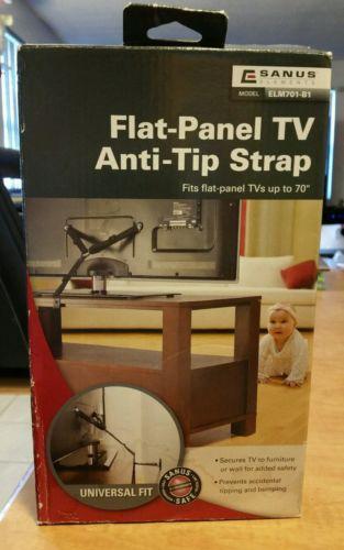 "Flat Panel TV Anti Tip Strap Up to 70"" Sanus ELM701-B1 NEW"