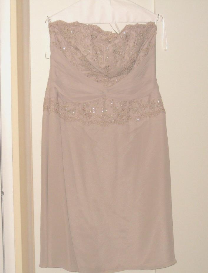 women beaded strapless beige dress size 14