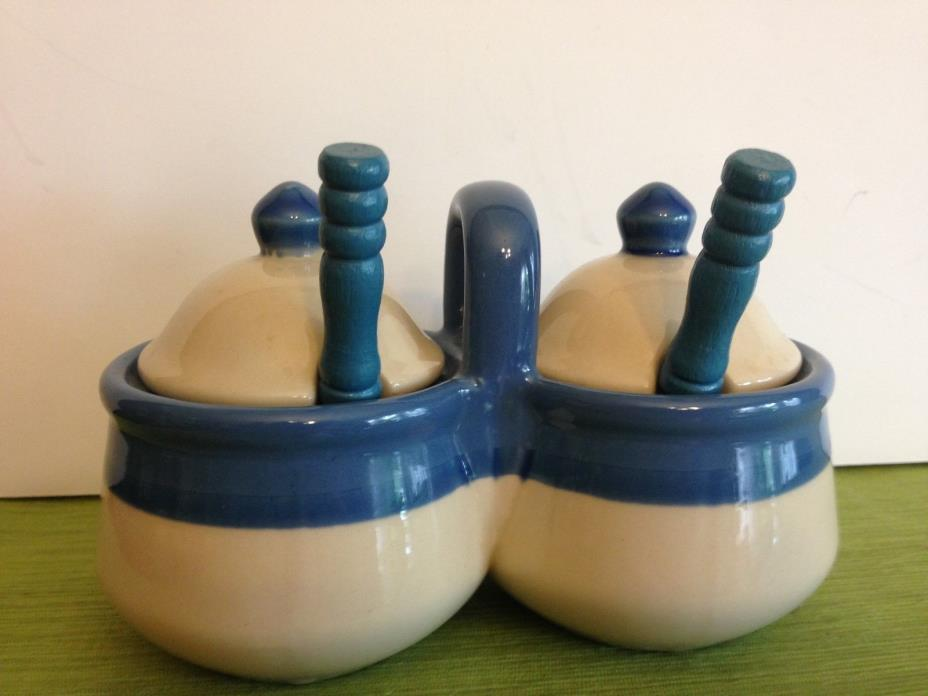 VINTAGE DOUBLE CUP CONDIMENT/JAM SERVER WITH SPOONS  BLUE BAND ON POTTERY
