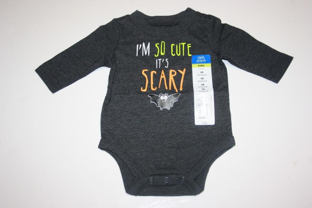 Okie Dokie Halloween Gray Grey Bodysuit One-Piece I'm So Cute It's Scary Bat 12m
