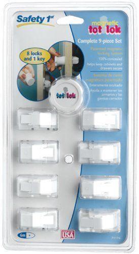 Safety First Magnetic Tot Lok Assembly 9 Piece Set 8 Locks 1 Key #71176