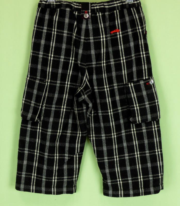 242 Jacadi baby boy black white plaid WOOL casual pants EUC 18 m