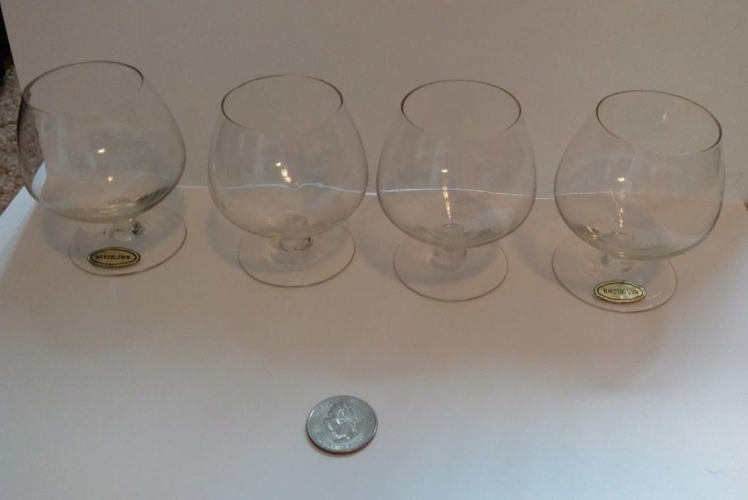 4 Classic Style Handblown Clear Glass Brandy Snifter - Barware Bar Decor -