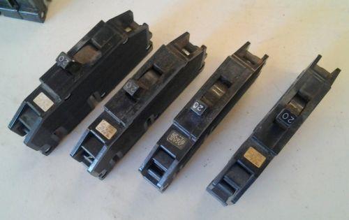 Zinsco Type Q 40C Single 20 Amp Breakers Lot of 4  See Description