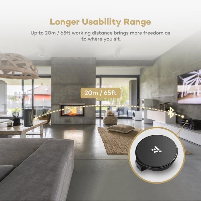 65ft Bluetooth Transmitter TaoTronics 20m Long Range Digital Optical TOSLINK...