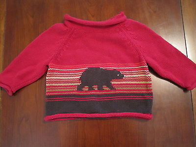Baby Gap Boys Red Striped Bear Cotton Roll Neck Pullover Sweater 3-6 months EUC