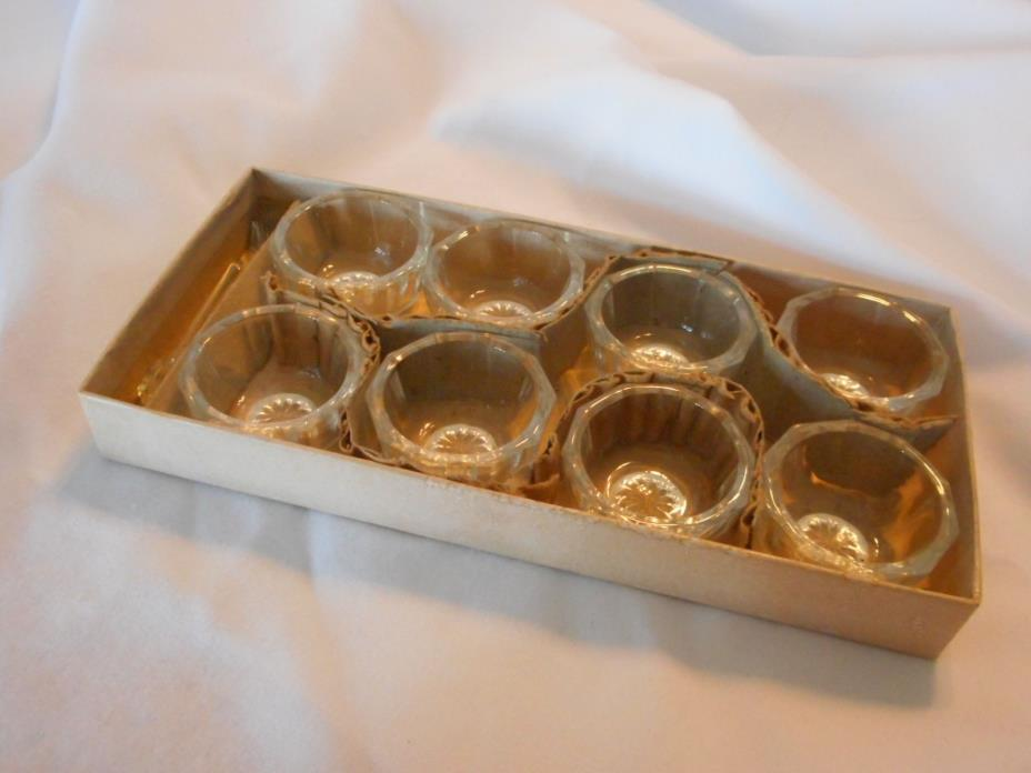 True vintage Antique 8 Clear Glass Salts 4 Spoons Original Box Early 1900s (AHi