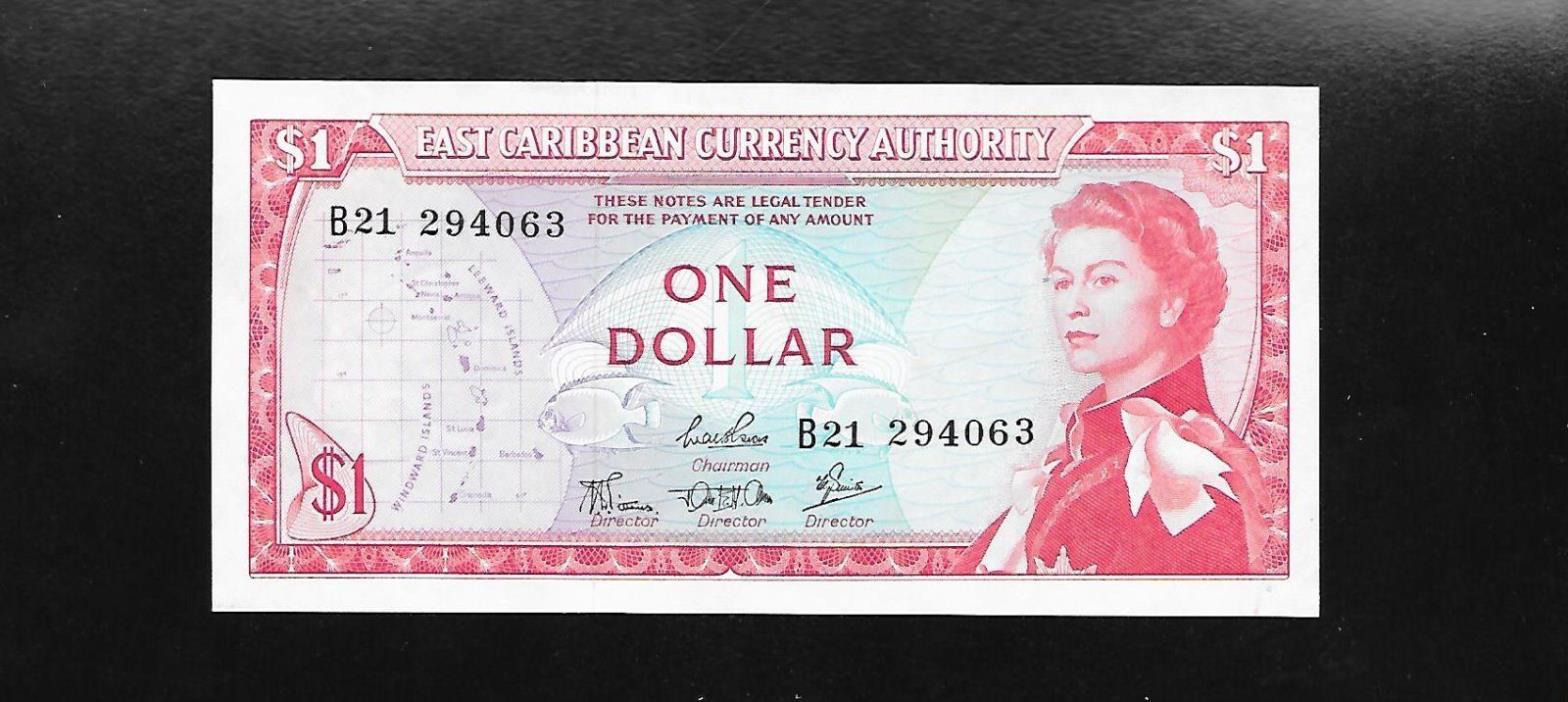 East Caribbean Currency  Queen  1965  Rare Key Signature 4    P-13c  aUNC