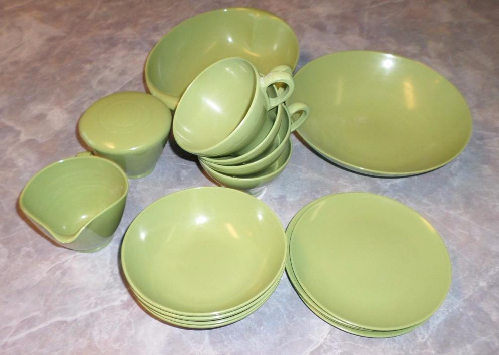 Lot Vintage Melmac Dishes Lenox Ware Green Serving Bowls Sugar Creamer Cup Plate